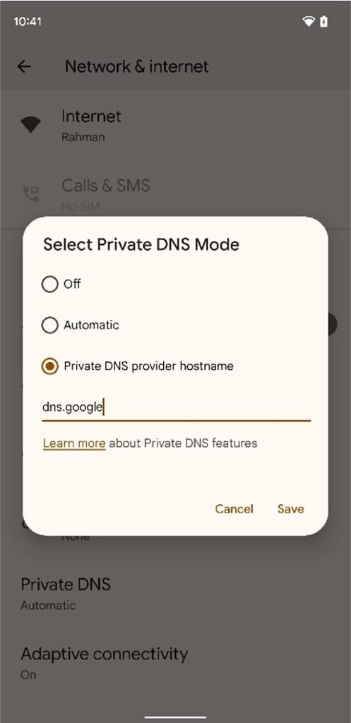 Select Private DNS mode in Android 12