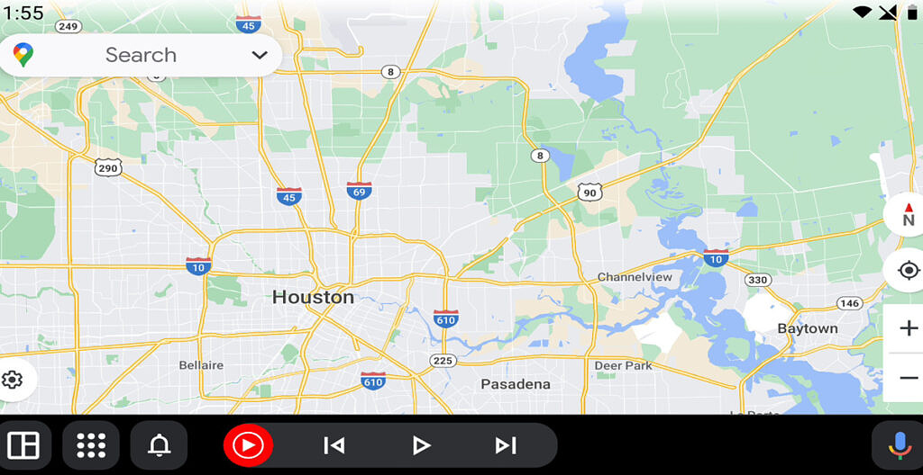 Android Auto navigation bar with Coolwalk design