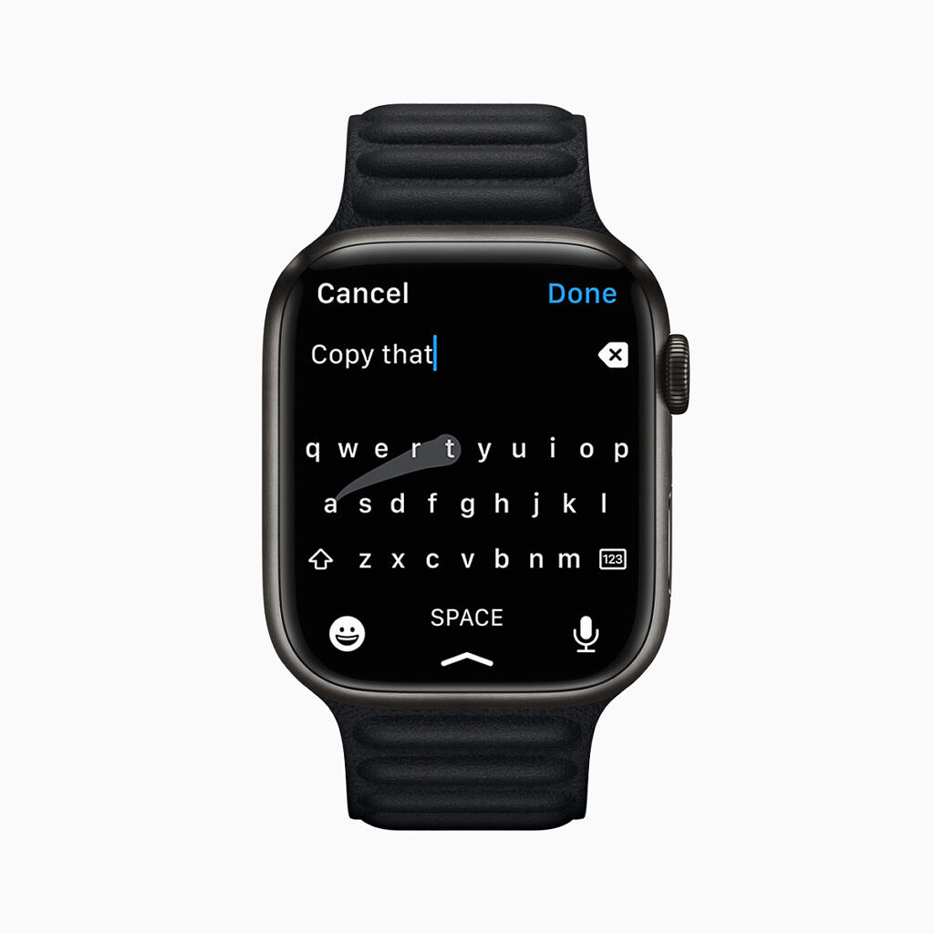 New larger QWERTY keyboard on the Apple Watch Series 7