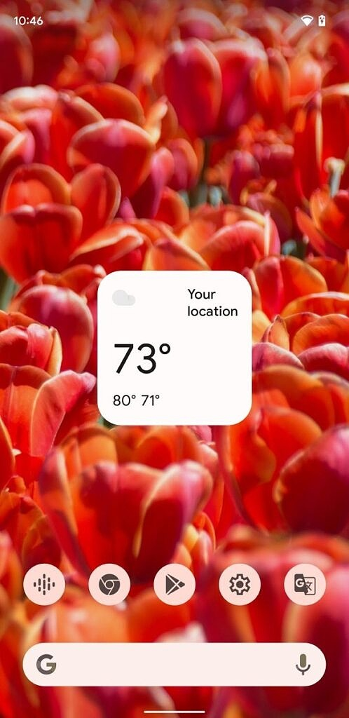 Assistant weather widget shown on the homescreen