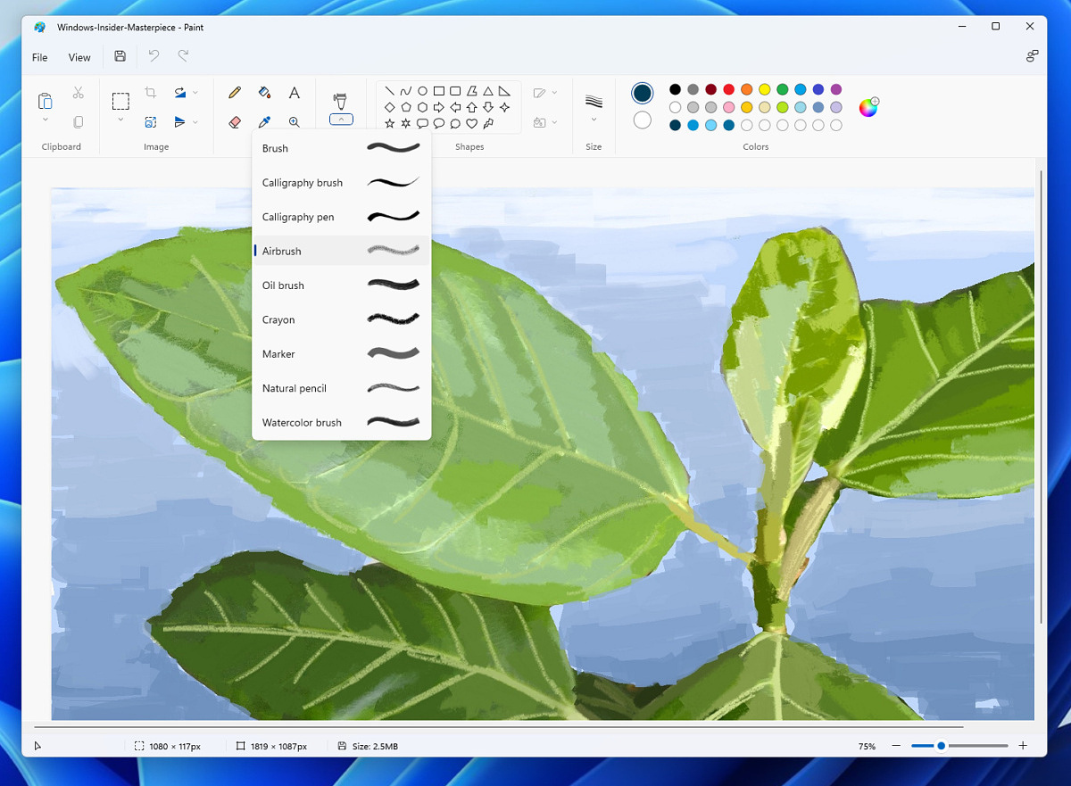 The new Microsoft Paint app for Windows 11.