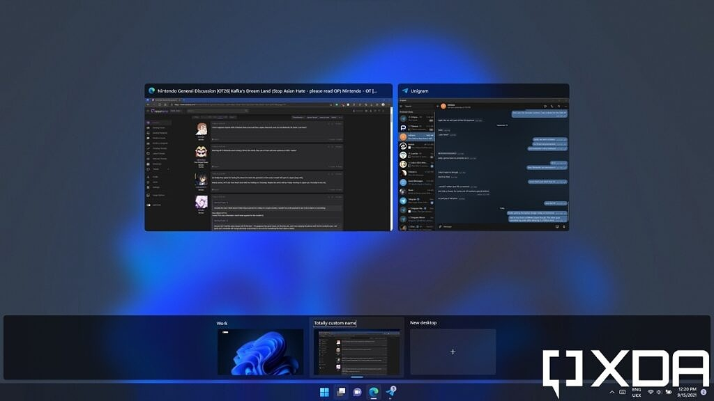 Changing the name of a virtual desktop