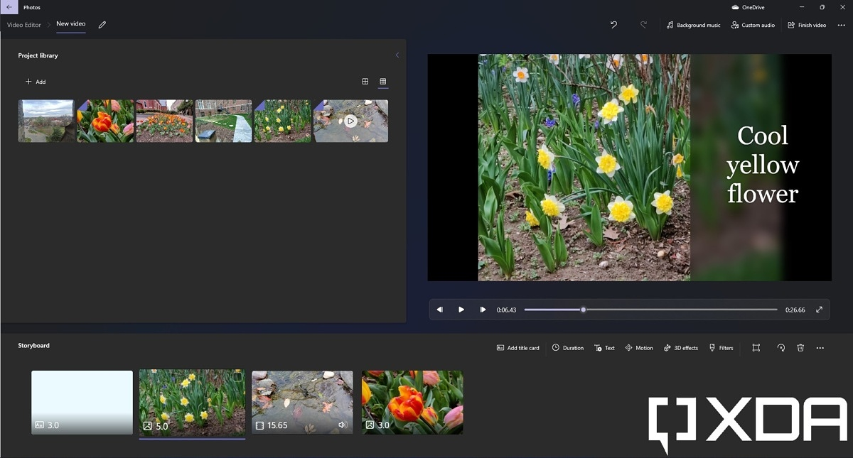 Creating a video project in Windows 11 Photos app