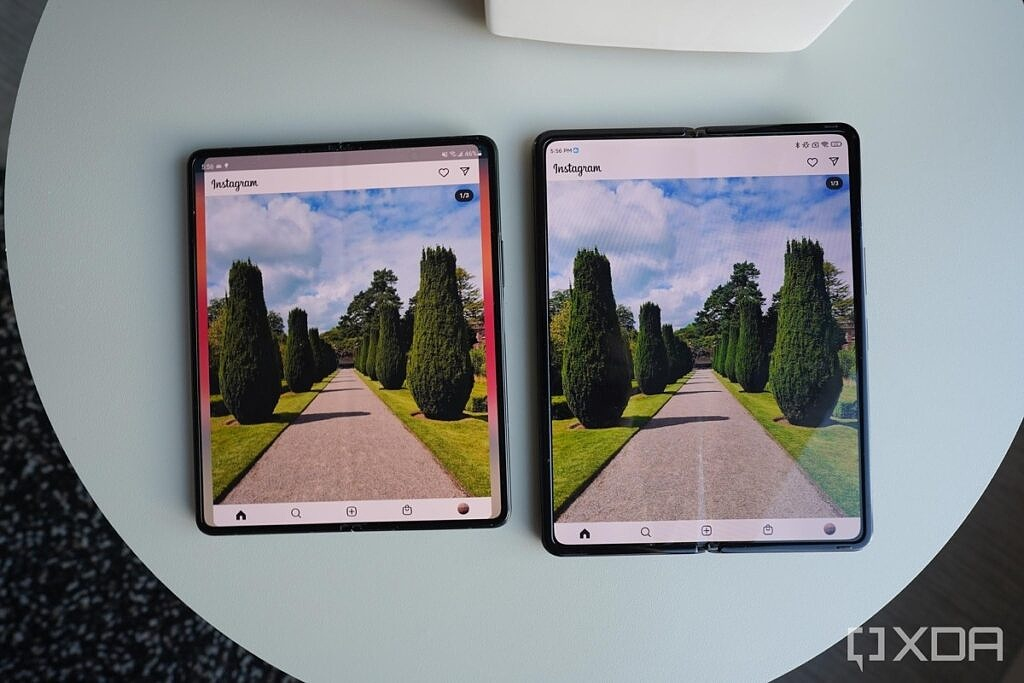 Instagram on both the Galaxy Z Fold 3 and the Xiaomi Mix Fold