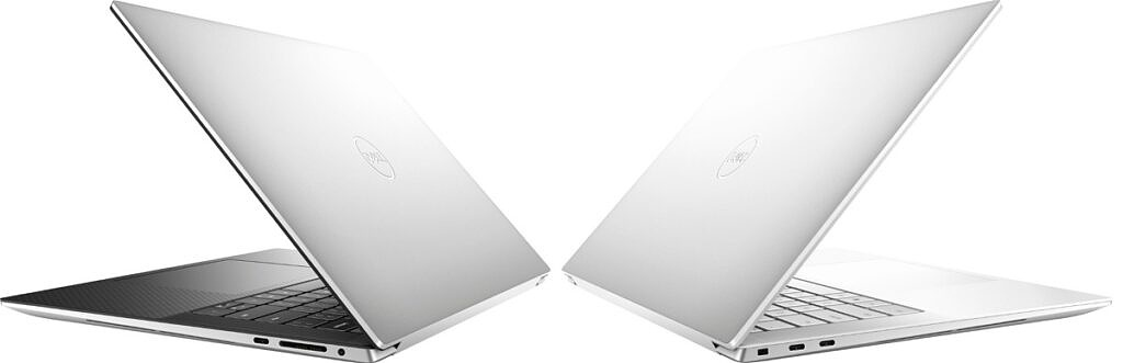 Dell XPS 15 rear angled view with lid half open in both colors