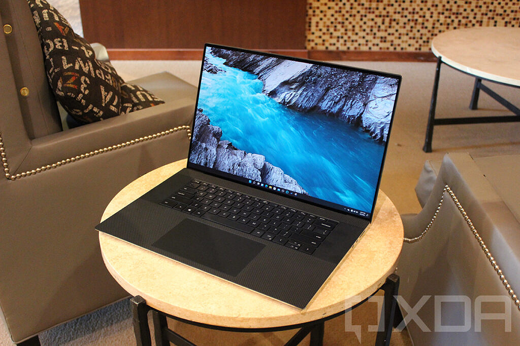 Dell XPS 17 angled view on small table