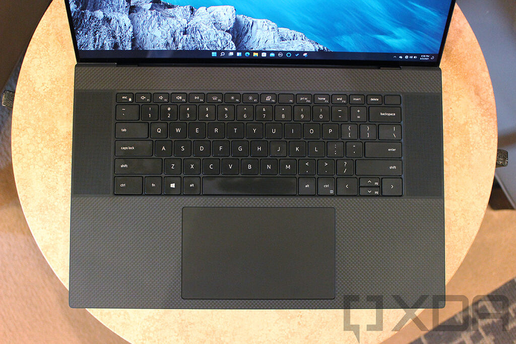 Top down view of Dell XPS 17 keyboard