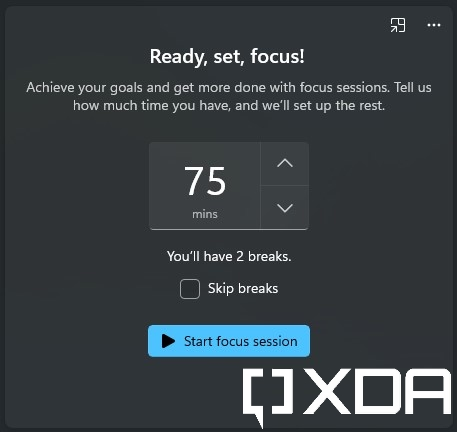 Setting a timer for a focus session