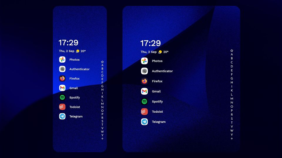 Niagra Launcher on the outer vs. inner screen of a foldable device