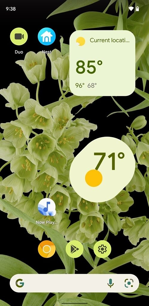Google Assistant oblong weather widget on home screen