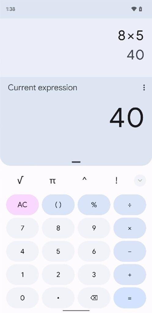 Expanded view in Google Calculator 8.0