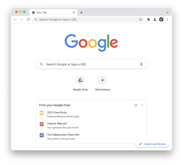 Google Chrome New Tab Page for Drive