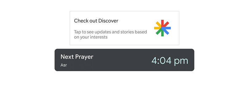 Google Discover tests showing Islamic Prayer times to some users