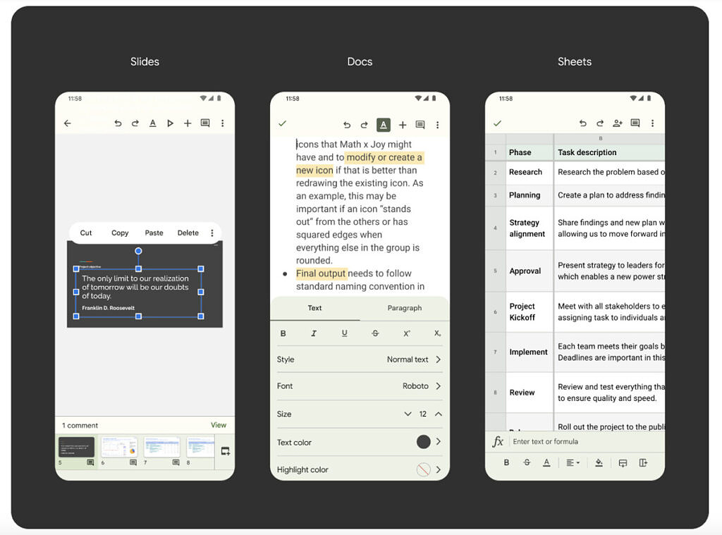 Material You theming in Google Slides, Google Docs, and Google Sheets