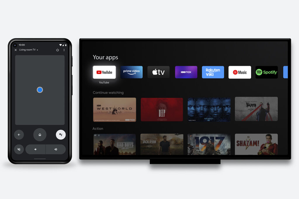 Google TV remote next to Android TV on gray background