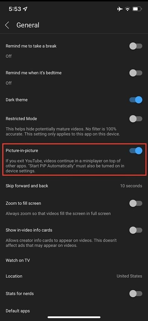 Screenshot of the Picture-in-picture toggle in the YouTube iOS app settings