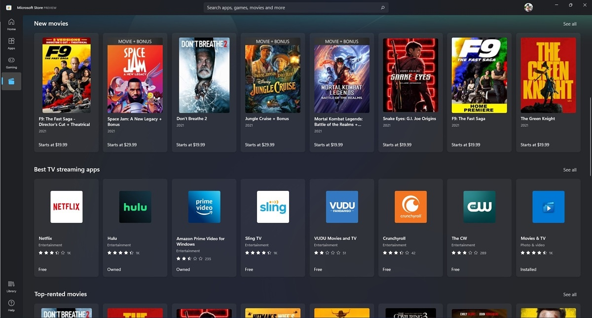 Microsoft Store Movies & TV section