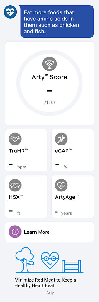 Arty score page within Mobvoi app