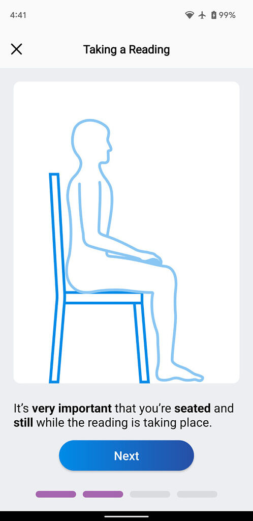 Sit instructions for taking an Arty reading