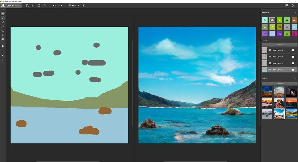Choosing a style in NVIDIA Canvas