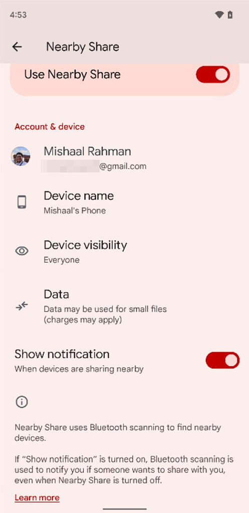 Nearby Share settings in Android 12 Beta 5