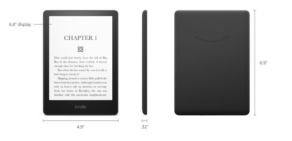 Kindle Paperwhite 11th Gen front, side and back view