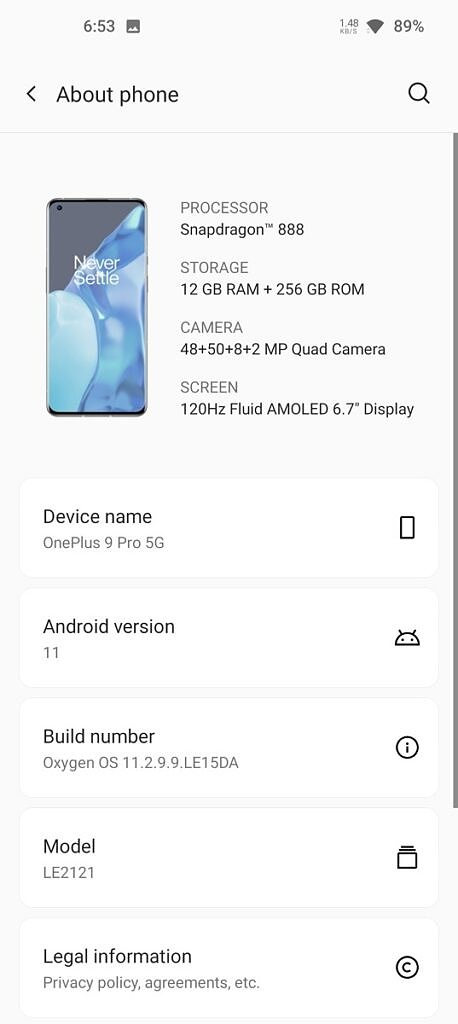 About page on OxygenOS 11