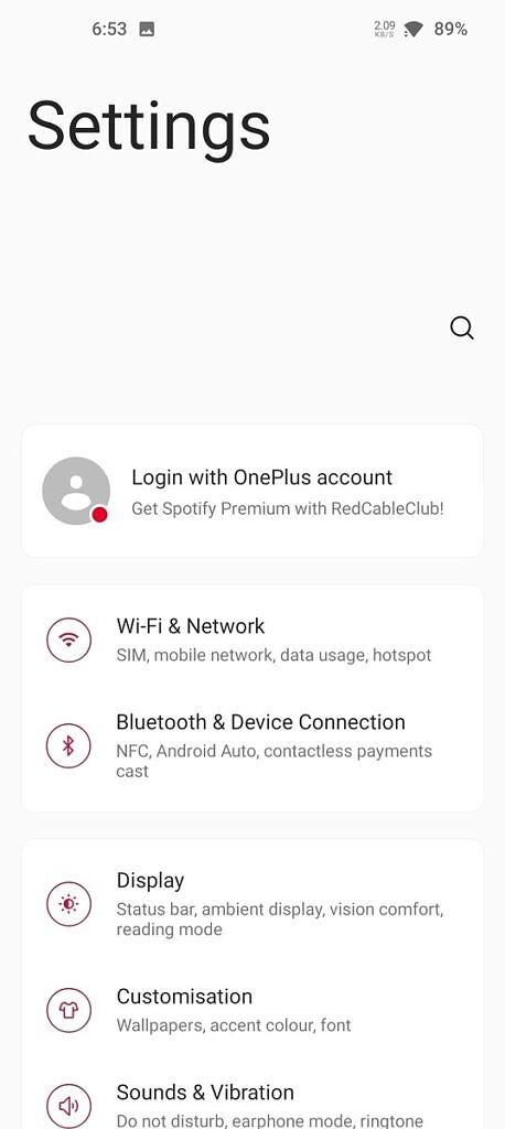 Settings page on OxygenOS 11