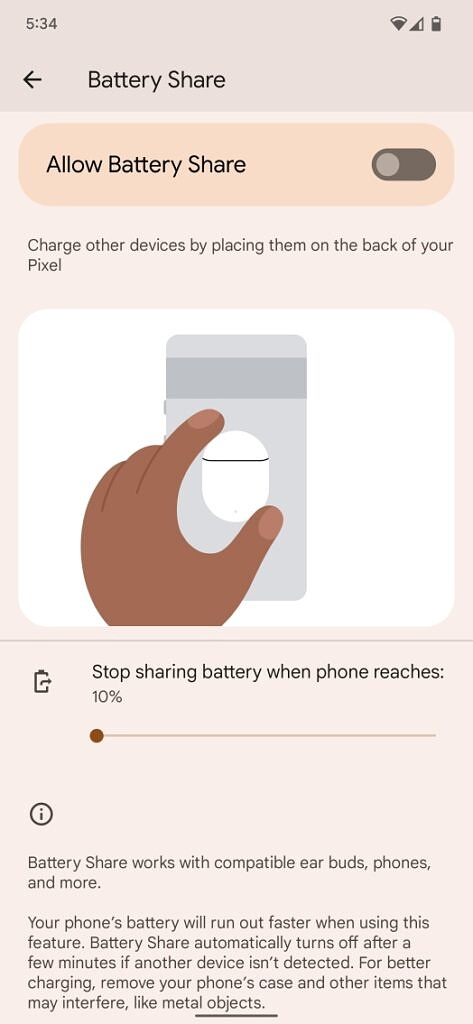 Battery share page on a Pixel 6 Pro