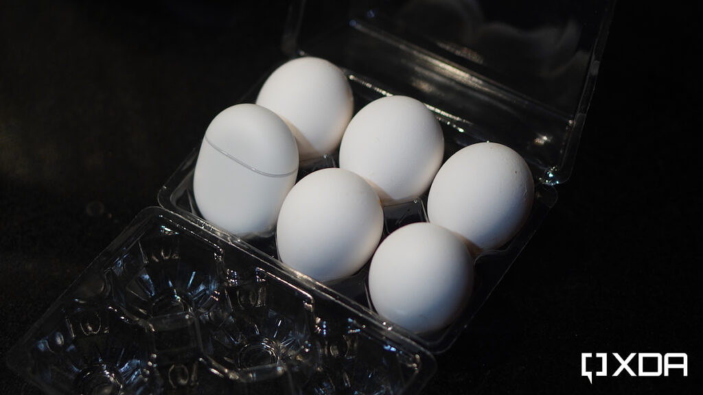 Pixel Buds A in an egg tray