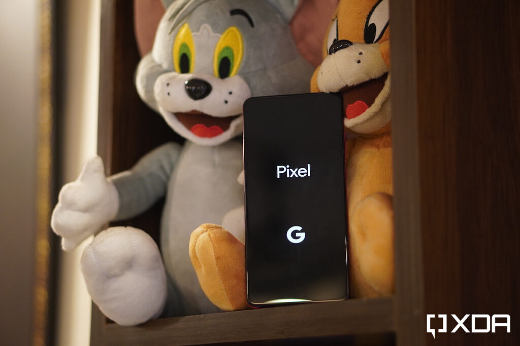 Pixel text on the display