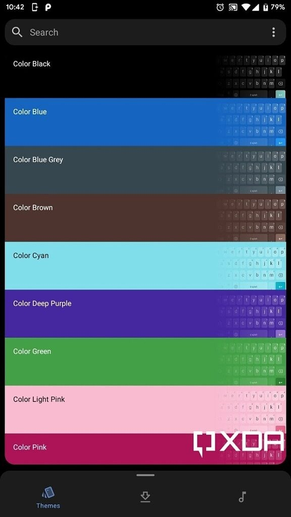 Rboard Theme Manager main tab