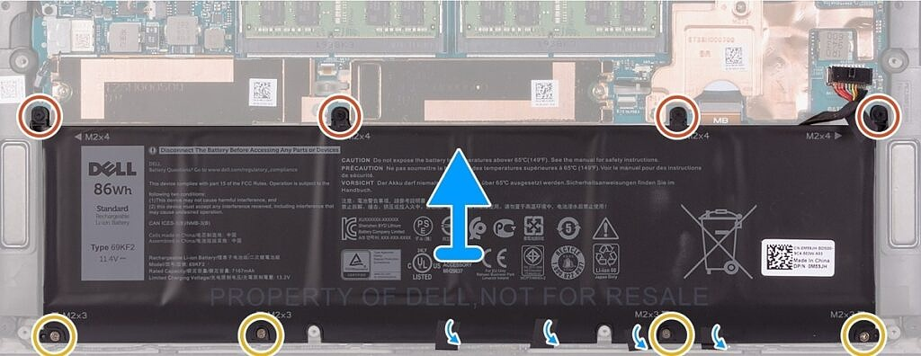Remove battery from Dell XPS 15
