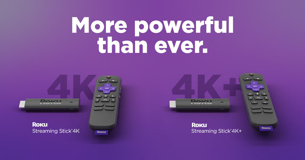Roku Streaming Stick 4K and Streaming Stick 4K shown with their remotes