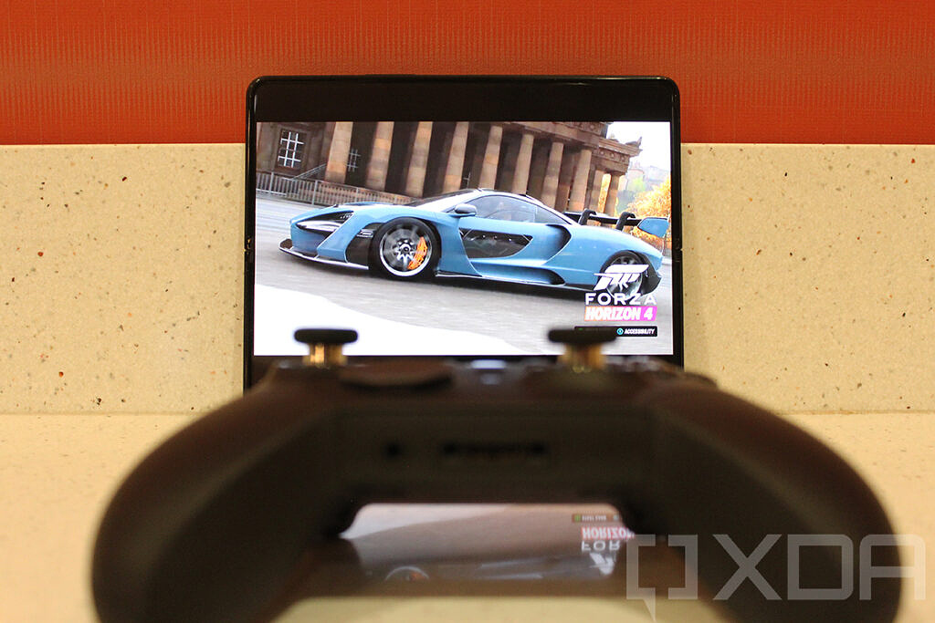 Samsung Galaxy Z Fold 3 with Xbox Cloud Gaming and controller