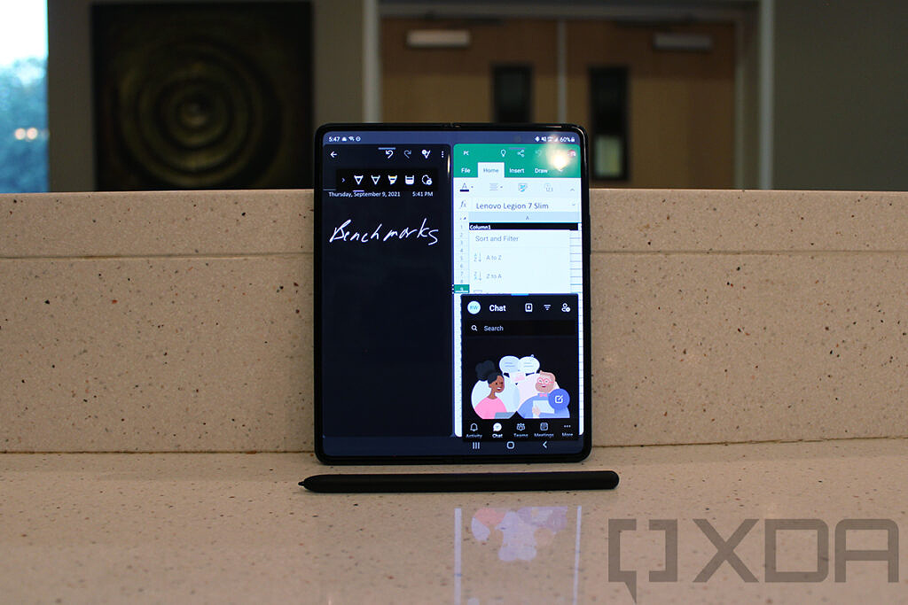 Samsung Galaxy Z Fold 3 showing Office, OneNote, and Teams on the same screen