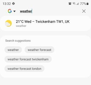 """Searching for """"weather"""" in Samsung Internet's address bar"""