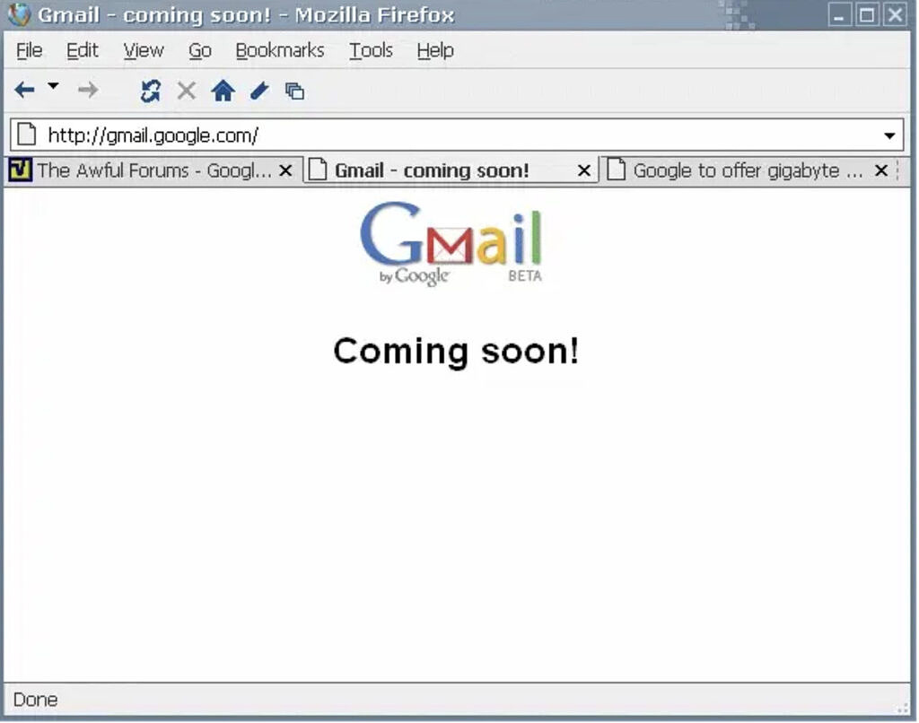 Gmail homepage on March 31st, 2003