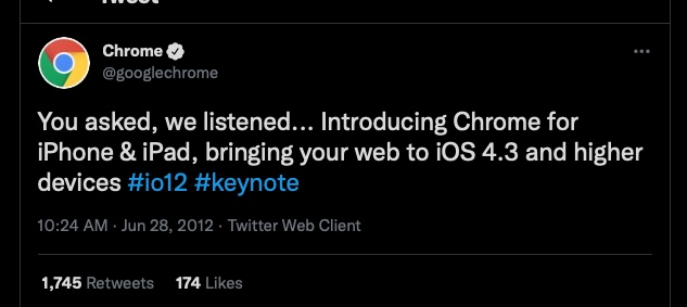 Chrome is coming to iOS 2012