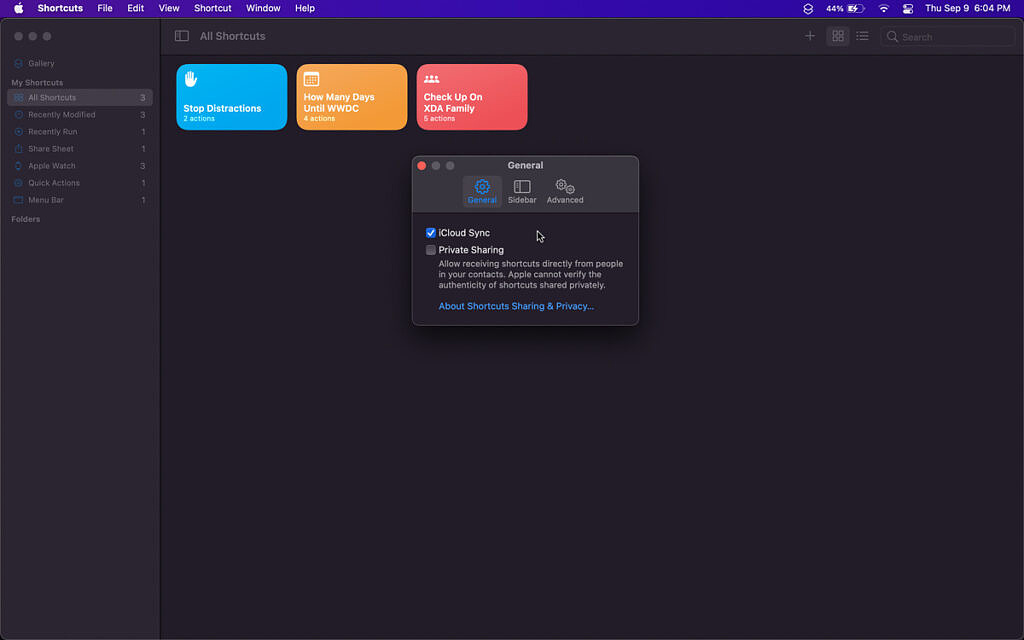 screenshot of general preferences in shortcuts app on macos