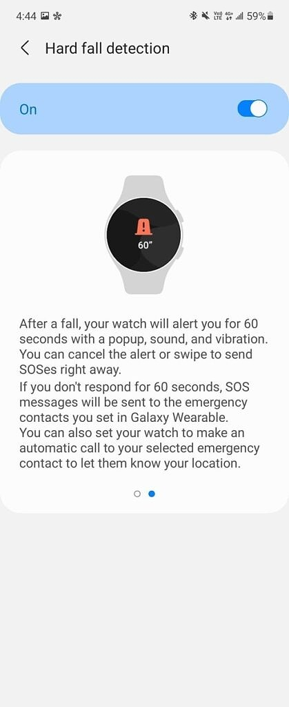 Galaxy Watch 4 fall detection enabled