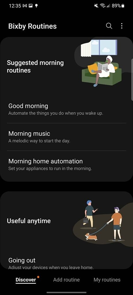 Bixby routines page