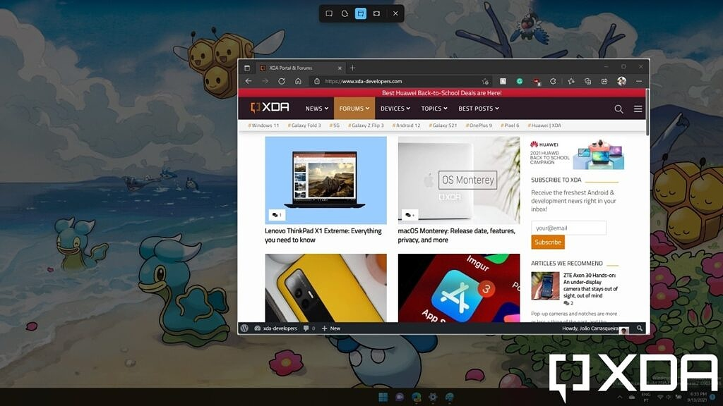 Taking a windows snip with Windows 11 Snipping Tool