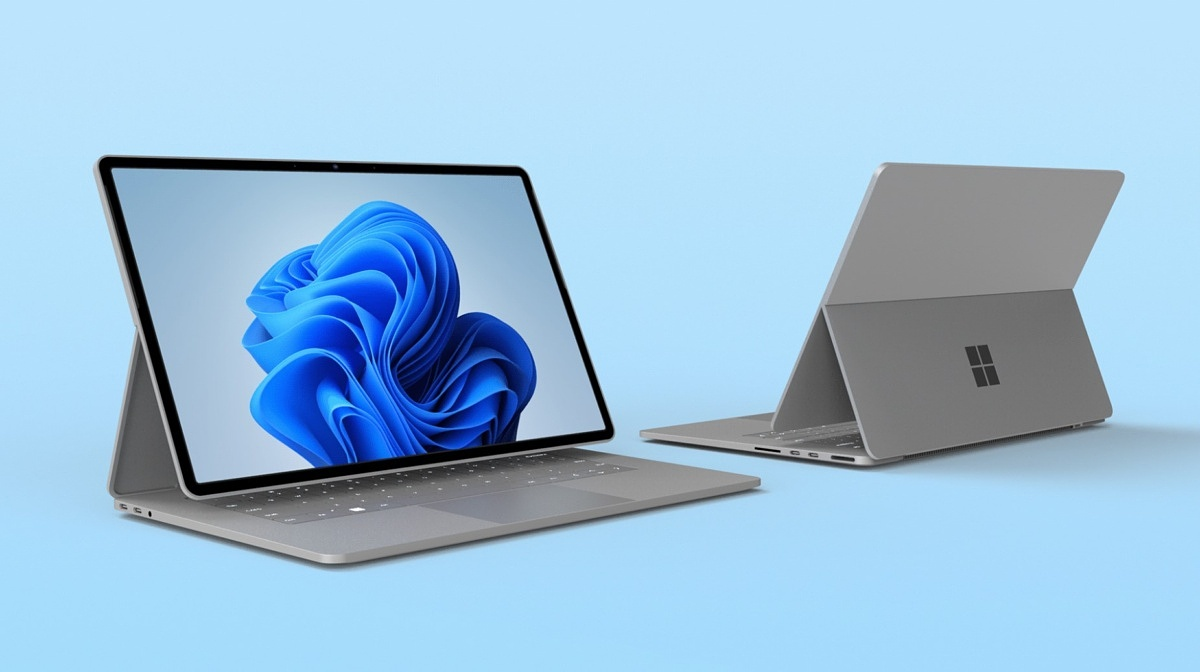 Concept of Microsoft Surface Book 4 on blue background