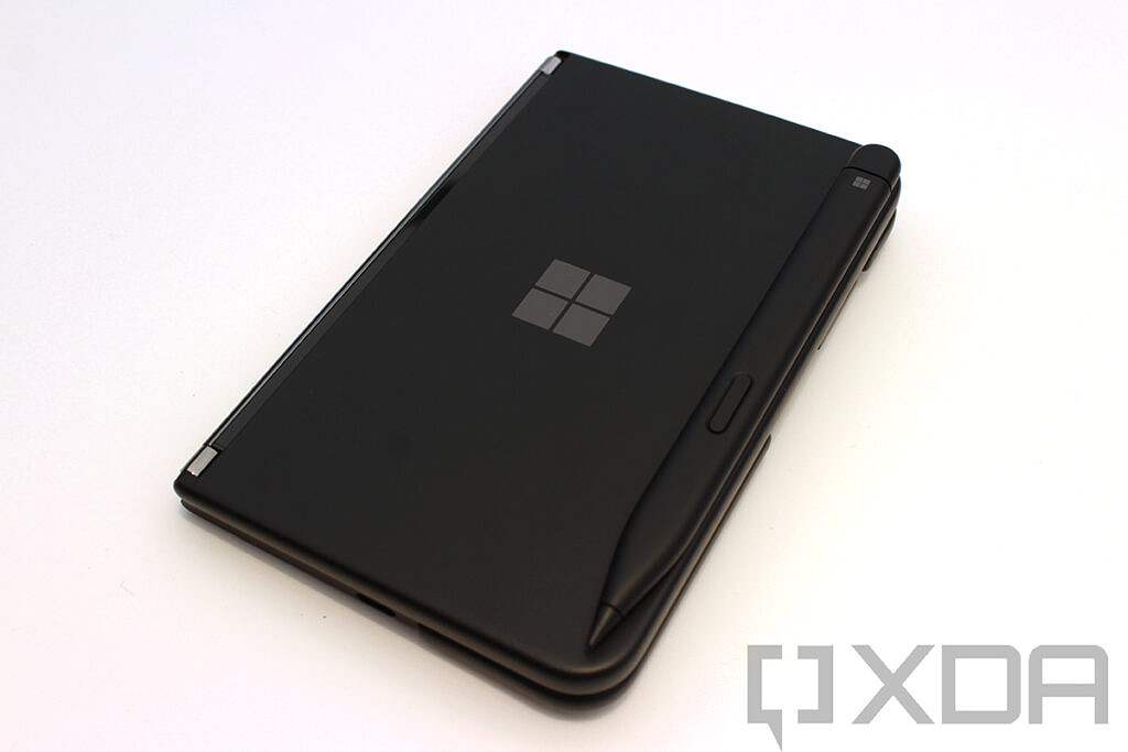 Surface Duo 2 closed with pen charging case
