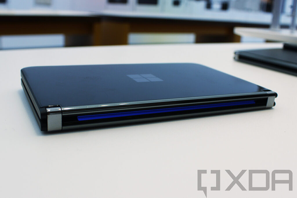 Surface Duo 2 with Glace display lit up