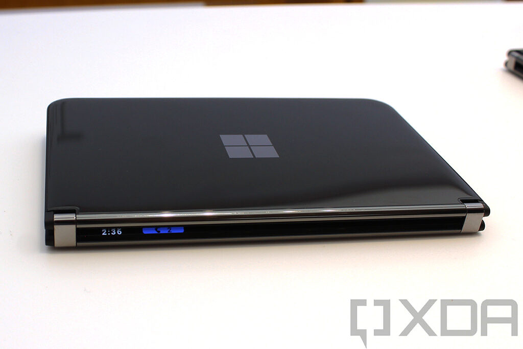 Surface Duo 2 with Glance display lit up