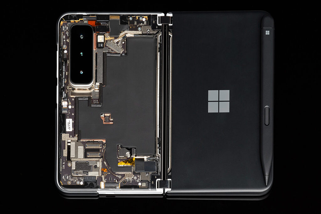 Surface Duo 2 internals on black background