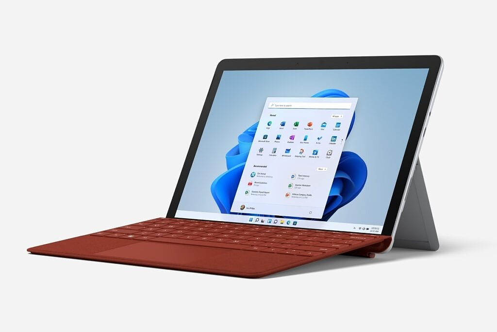 Surface Go 3 with red keyboard