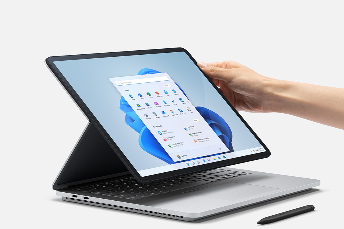 Display being adjusted on Surface Laptop Studio